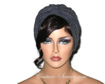 Black Turban, Women's Black Turban,  Black Fashion Turban, Faux Denim, Black Sparkle Turban, Black Twist Turban, Black Metallic Turban