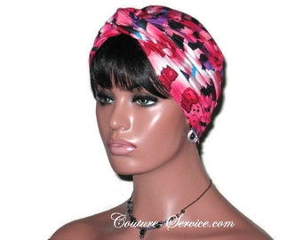 Pink Turban, Rose, Women's Handmade Fashion, Abstract, Twist, Hat, Rayon, Full, Hair, Head, Head Wrap, Hair Wrap, Head Cover, Hair  Cover