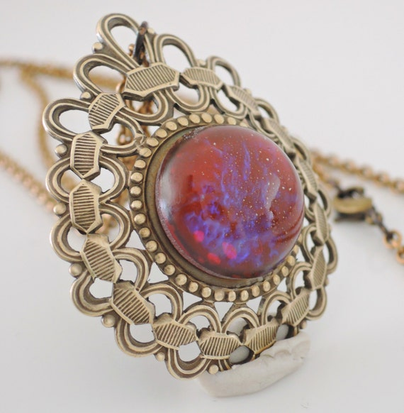 Vintage Necklace - Purple Fire Opal Stone - Vintage Brass jewelry -Chloes Vintage Jewelry - Statement Necklace - handmade jewelry