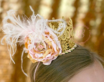 Gold Lace Crown Headband, Couture Gold Crown, Satin Pink Flower Crown, 1st Birthday Headband, Holiday Gold