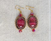 Earrings Embroidered beaded Rhodochrosite red crystal OOAK