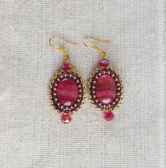 Earrings Embroidered Beaded Rhodochrosite Red Crystal Ooak