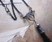 art noveau black tassel - the addison necklace