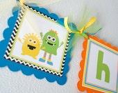 Little Monsters Birthday Banner, Monster Party Decorations, Boy Birthday Banner, First Birthday Banner