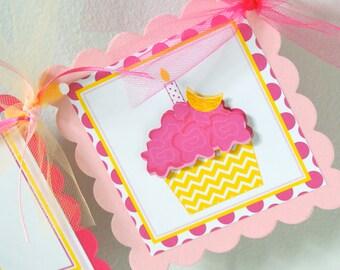 Cupcake Birthday Banner, Lemonade Birthday Banner, Girl Party Decorations, Fully Assembled