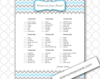 What's in Your Purse Shower Game, INSTANT DOWNLOAD, blue purse baby shower game, printable boy baby shower games