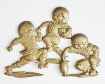 Vintage 80s Football Player Wall Hangings - Cast Metal - Set of 3 - Childrens Room Decor