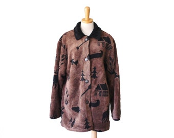Vintage 90s Moose Fish Tree Pattern Fleece Jacket - Brown Black - Women L - Outbrook Twin Peaks Style