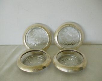 Silver Plate Coaster Sunburst Glass Center,   Vintage,  Home Decor,  Drinks,  Wedding,  Gifts, #5301