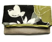 Prom purse fold over clutch bag zipped purse evening purse wedding purse yellow and grey floral linen fold over bag.