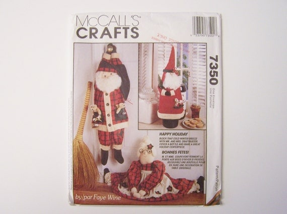 Santa Claus Draft Stopper Bottle Cover Sewing Pattern Mrs