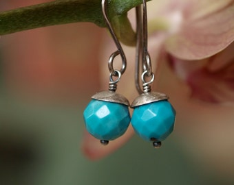 Faceted Turquoise Rounds and Sterling Silver Earrings