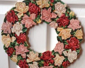 Beautiful Vivid 40's Paper Floral Wreath Embossed