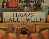 Happy Halloween, Fall, Autumn, Primitve, Folkart, Wall Sign