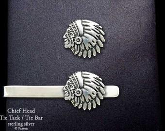 Indian Chief Head Tie Tack or Indian Chief Head Tie Bar / Tie Clip Sterling Silver
