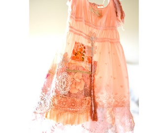 Romantic, upcycled bohemian chic style dress