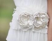 Frenchy Vanilla Polka Dot Couture Flower Clip Sash or Headband