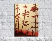 Candy Pines  - 24 x 36 Original Modern Abstract Tree Landscape Art Painting by Russ
