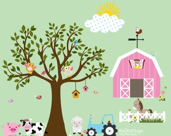 Vinyl Farm Wall Tree Decal Barn Tractor Sun Fence Horse Cow Pig Lamb Sunflowers Chickens Bumble Bees Birds Ducks Set