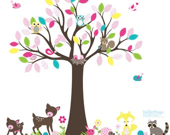 Vinyl Wall Decal Tree Set Nursery Wall Stickers with owls,butterflies,deer,birds Forest wall decal girl baby