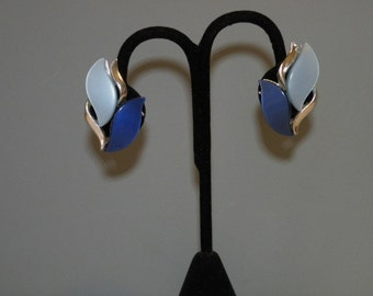 Vintage Blue Shades Thermoplastic Earrings