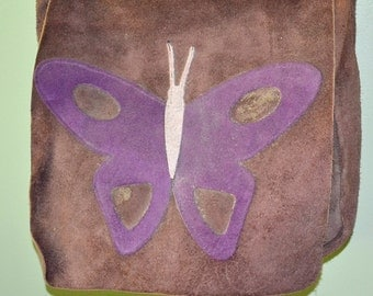 Vintage Retro Purple Suede Handbag with Butterfly