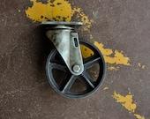 Antique Caster Wheels 5 inch Cast Iron Vintage Industrial Wheel 5TM