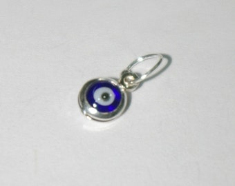 Sterling Silver 925 Very Small Size 5mm Dark Blue EVIL EYE Charm Pendant - Free Shipping Worldwide