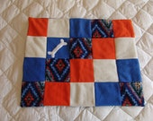 Small Fleece Dog Blanket - multi colored diamonds