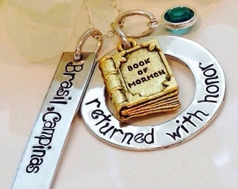 HandStamped Returned with Honor Sister-Missionary necklace-Missionary Gift-Missionary-Returned with Honor- Jewelry-Book of Mormon necklace