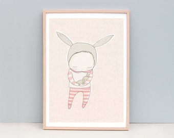 Large Peach Nursery Art Print, Pink Nursery Art, Peach Nursery Art, Bunny Nursery Art, Animal Nursery Art,  Baby Bunny Cuddles Peach Version