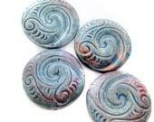 4 Raku Wave Swirl Pendants - peruvian beads, ceramic beads, raku beads - LG649