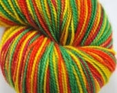 "Hand dyed yarn, 4 stripe self-striping sock yarn, Tuff Sock, bfl/ nylon sock, ""Genevieve"" 100g"