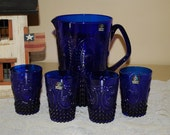 Vintage Marc Aurel Cobalt Blue Echtkristall or Etched Crystal Pitcher and Four Tumblers