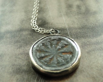 Jewelry, Vintage Tibetan Coin, Holiday Gift Sterling Silver Necklace, Pendant Necklace, Boho Chic Necklace, Gift Box
