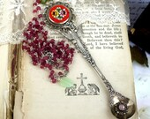 Taste It,Vintage Demitasse Silver Spoon ,Real Opal, Micro Mosaic Cameo ,Peridot Gemstone,Real Ruby Chain Vintage Altered Assemblage Necklace