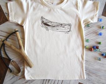 Organic Cotton Toddler Shirt - Screen Printed American Apparel kids T shirt - Vintage Canoe - Kids Clothes - Cotton Tee - You pick size