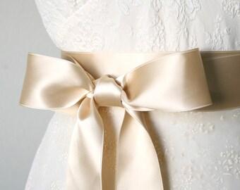Champagne Light Gold Wedding Sash, Double Faced Satin Ribbon Belt, 2 Inch Wide - Bridal Belt, Bridesmaid, Flower Girl Sash