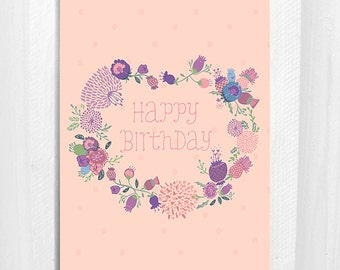 Happy Birthday, Greeting Card, Floral, Nougat Colour, 5x7