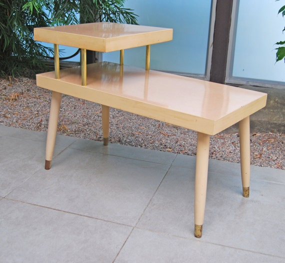 Items similar to vintage 1950 39 s formica 2 tiered side - Retro formica table ...