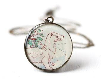 White Ferret Vintage Art Pendant Necklace, Winter Fashion, Ferret on White Snow