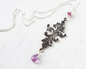 Long Ornate Pendant Necklace with Violet Gemstone Wire Wrapped in Sterling Silver, Ethereal Beautiful Necklace