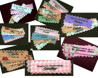 Custom Clothing Labels Garment Tags Personalized Sew In Designer Gingham Pindot Fabric Made With Love by, Designed by, Created by 60