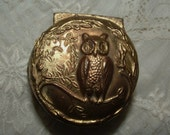 Antique Pot Metal Miniature Jewelry Box with OWL
