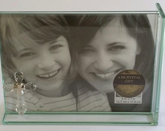 Cross Picture Frame - Glass Picture Frame Handcrafted by the Artisans At Bjcrystalgifts Using Swarovski Crystal