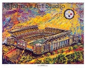 Heinz Field, Pittsburgh Steelers, Football Print , sports painting by Johno Prascak