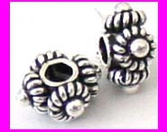 10x Sterling Silver Handmade Bali Bead Spacer 7.5mm x 3.5mm S69
