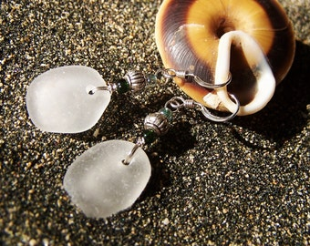 Frosty White Genuine Surf Tumbled Sea Glass with Glass Bead and Silver Turban Bead Accents EW 40