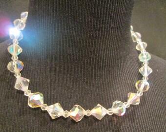 Vintage Aurora Borealis Crystal Glass Necklace