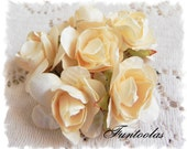 Paper Roses 1 1/4 inch Ivory Cream Set of 6